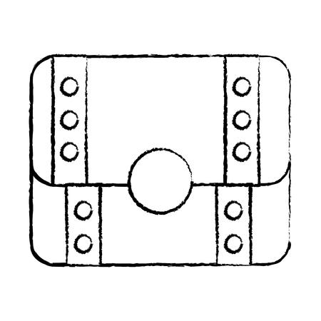 Cofre del tesoro icono de imagen completa ilustración vectorial de diseño de línea de hombre negro Foto de archivo - 92103873