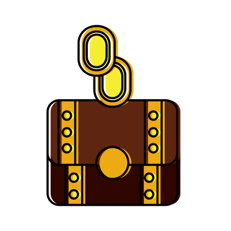 coins or gems with chest  video game related icon image vector illustration design