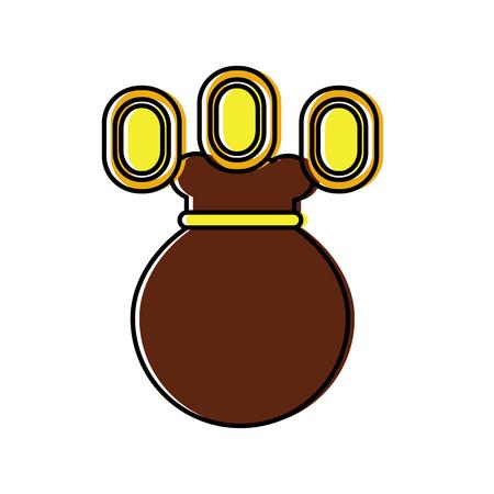 munten of edelstenen met tas videogame gerelateerde pictogram afbeelding vector illustratie ontwerp