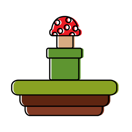 mushroom coming out of tunnel video game related icon image vector illustration design  Illustration