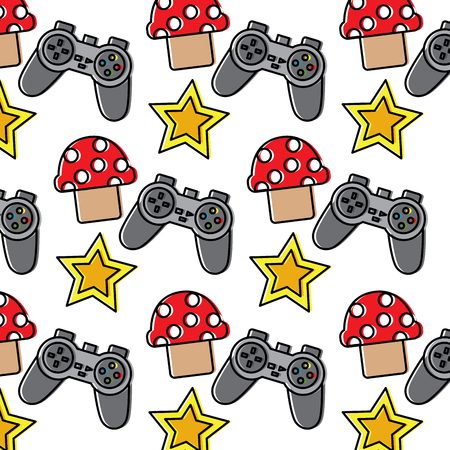 controller mushroom star video game related icon image vector illustration design  向量圖像