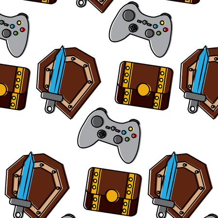 schild zwaard controller borst video game gerelateerde pictogram afbeelding vector illustratie ontwerp