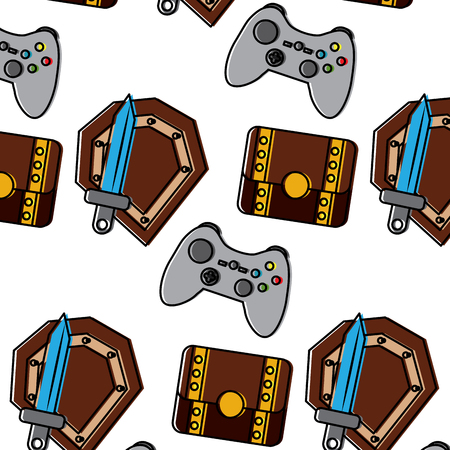 shield sword controller chest video game related icon image vector illustration design  Illustration
