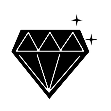 diamond shining icon image vector illustration design  black and white Illusztráció