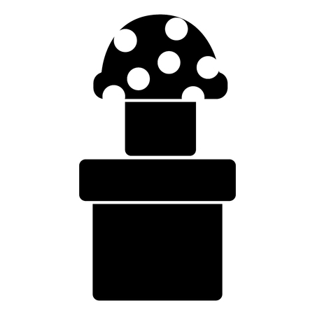 mushroom with dots icon image vector illustration design  black and white Illustration