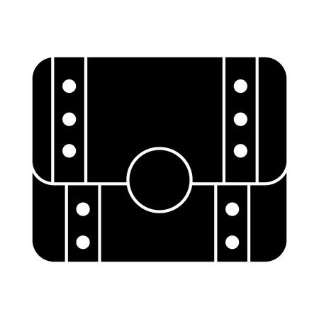 보물 가슴 폐쇄 아이콘 이미지 벡터 일러스트 디자인 흑백