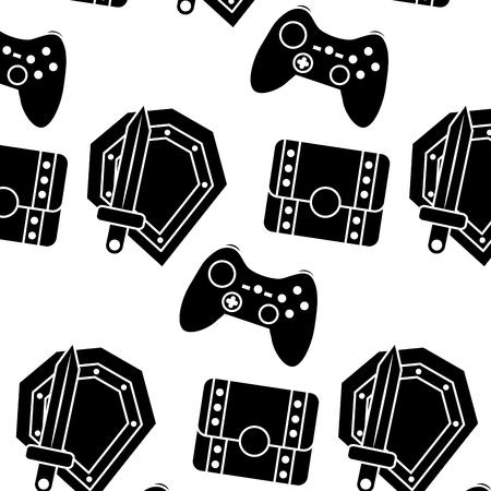schild zwaard controller borst video game gerelateerde pictogram Vector Illustratie