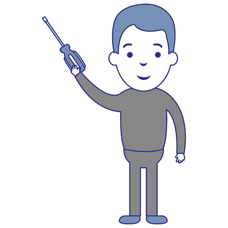 man with screwdriver tool isolated icon vector illustration design Illustration