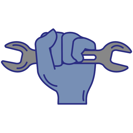 Hand with wrench tool isolated icon vector illustration design Illusztráció