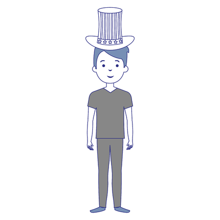 Man with USA hat vector illustration design
