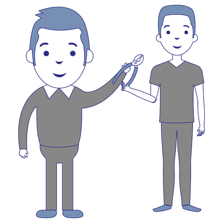 men with pliers tool isolated icon vector illustration design