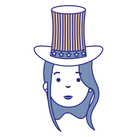 Woman with USA hat vector illustration design Иллюстрация