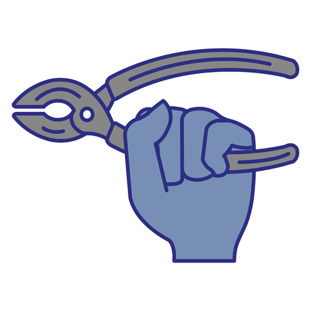 Hand with pliers tool isolated icon vector illustration design