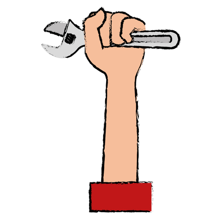 Hand with wrench tool isolated icon vector illustration design 向量圖像