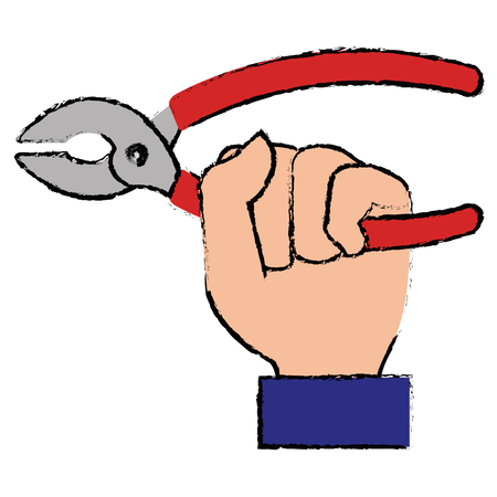 hand with pliers tool isolated icon vector illustration design Фото со стока - 92106631