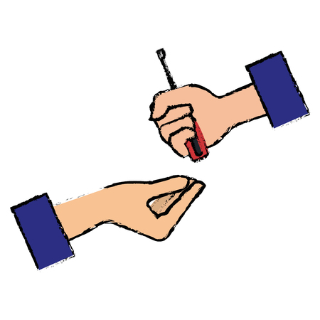 hands with screwdriver tool isolated icon vector illustration design
