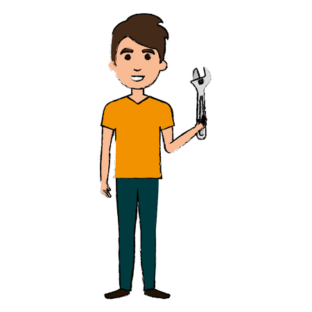 man with wrench tool isolated icon vector illustration design Illustration
