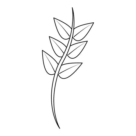 茎に葉繊細なアイコン画像ベクトルイラストデザイン