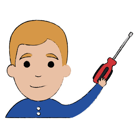 Man with screwdriver tool isolated icon vector illustration design
