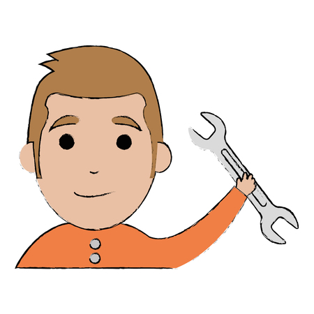 Man with wrench tool isolated icon vector illustration design