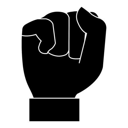 Black silhouette of hand up fist icon vector illustration design