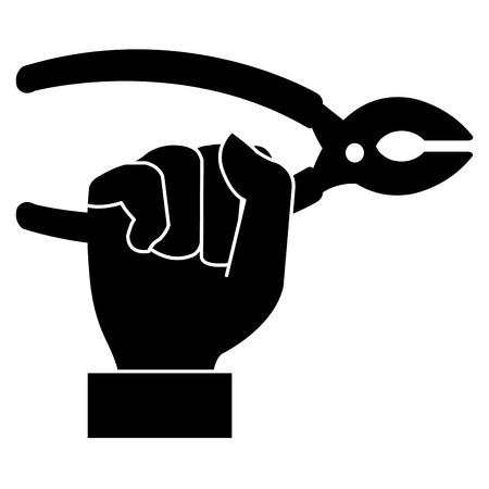 ペンチツールで手の黒いシルエット分離アイコンベクトルイラストデザイン