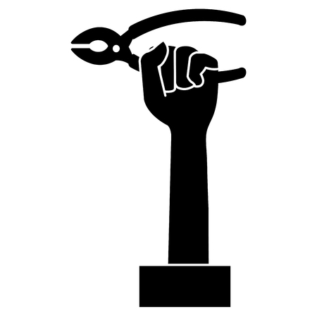 Black silhouette of hand with pliers tool isolated icon vector illustration design Illustration