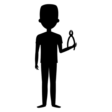 Black silhouette of man with pliers tool isolated icon vector illustration design