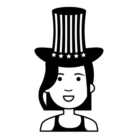 Black silhouette style of woman with USA hat vector illustration design