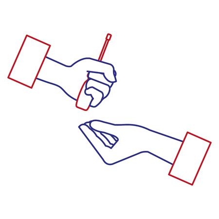 손으로 드라이버 도구 격리 된 아이콘 벡터 일러스트 디자인