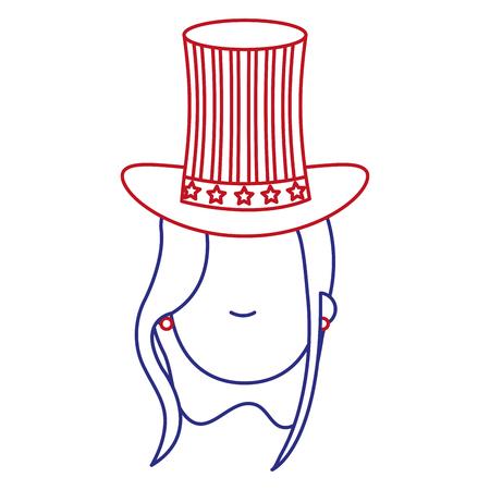 woman with USA hat vector illustration design Illustration