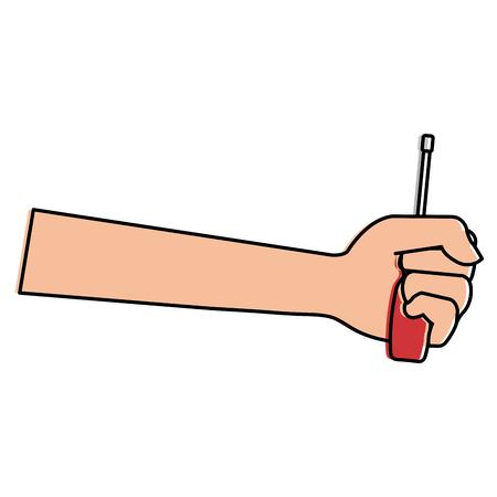 Hand with screwdriver tool Ilustração