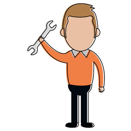 Man with wrench tool Illustration