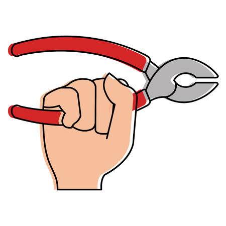 Hand with pliers tool