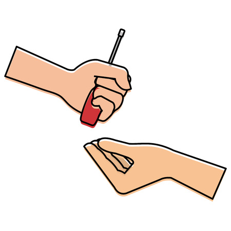 Hands with screwdriver tool