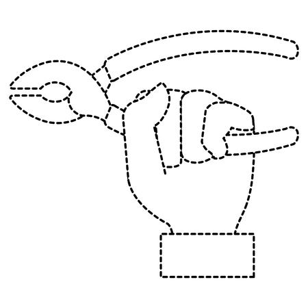 Mano con progettazione dell'illustrazione di vettore dell'icona isolata strumento delle pinze Archivio Fotografico - 92107452