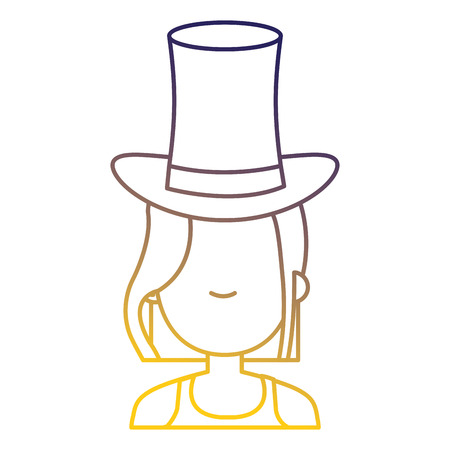 Woman with cylinder hat vector illustration design