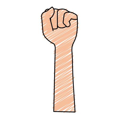 手を上げる拳アイコンアイコンベクトルイラストデザイン