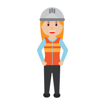 Woman engineer or contractor icon image vector illustration design Illustration
