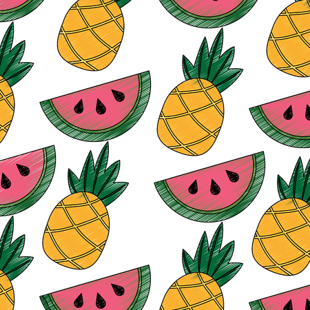 Pineapple and watermelon tropical fruit seamless pattern vector illustration