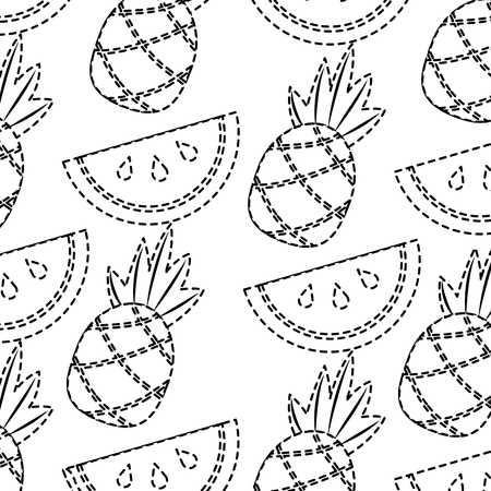 Dotted pineapple and watermelon design