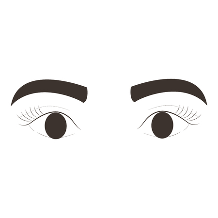 eyes with eyebrow icon vector illustration design