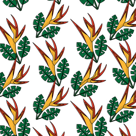 Seamless pattern of bird of paradise vector illustration