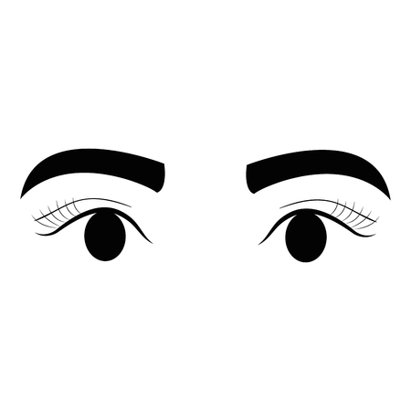 eyes with eyebrow icon vector illustration design Stock fotó - 92115484