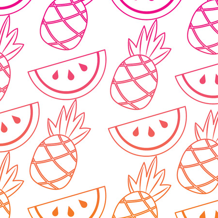 Pineapple and watermelon tropical fruit  pattern