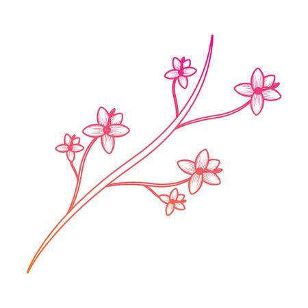 Natuurlijke tak met bloemen en bladeren