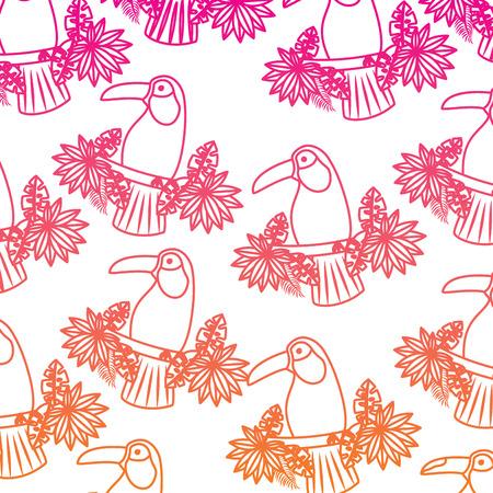 Tropical bird toucan  illustration