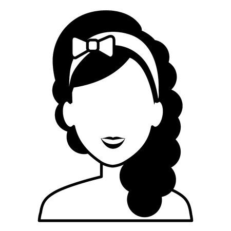 Beautiful woman shirtless avatar character vector illustration design Çizim