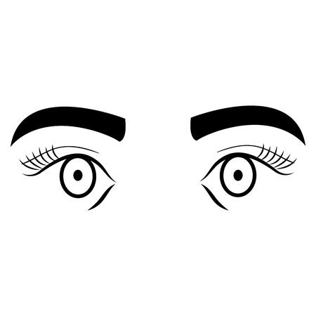 Ogen met vector de illustratieontwerp van het wenkbrauwpictogram.