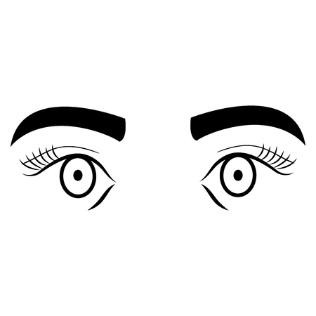 Eyes with eyebrow icon vector illustration design.